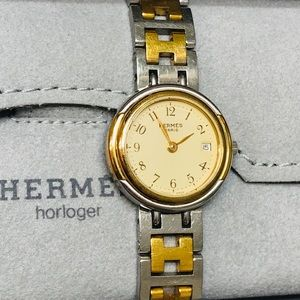 HERMÈS Women's Clipper Two-Tone Watch w box